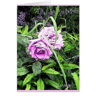 """""""植物の""""ピンクのバラ カード"""