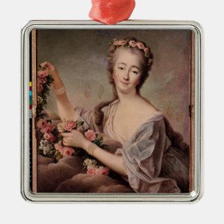 植物相として伯爵婦人duバリーのポートレート シルバーカラー正方形オーナメント