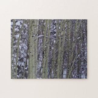 《植物》アスペンで落ちる雪 ジグソーパズル