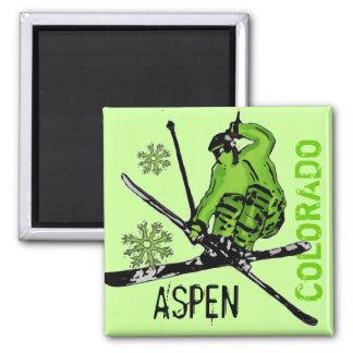 《植物》アスペンのコロラド州の緑のテーマのスキーヤーの磁石 マグネット