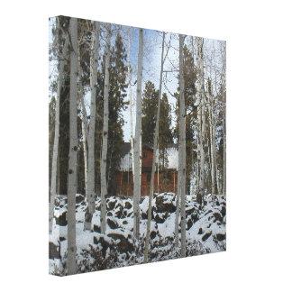 《植物》アスペンの木間の小屋 キャンバスプリント