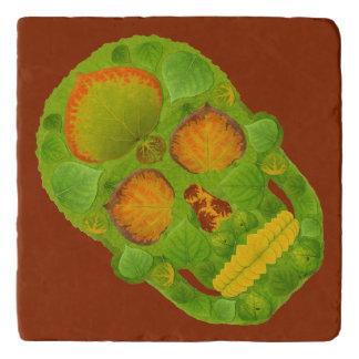 《植物》アスペンの葉のスカル10 トリベット