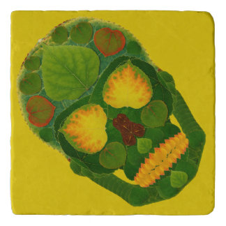《植物》アスペンの葉のスカル9 トリベット