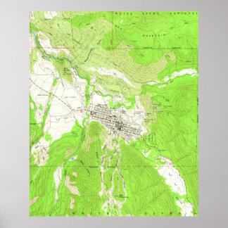《植物》アスペンコロラド州(1960年)のヴィンテージの地図 ポスター