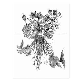 《植物》スイレンおよび金魚 ポストカード