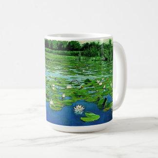 《植物》スイレンによってはLilypads水庭のマグが開花します コーヒーマグカップ