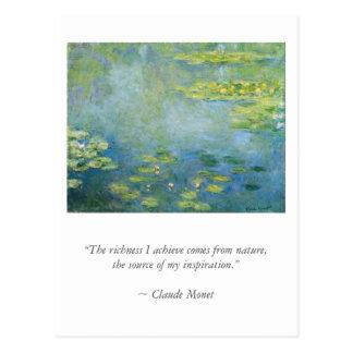 《植物》スイレンのMonetbの芸術家の引用文 ポストカード