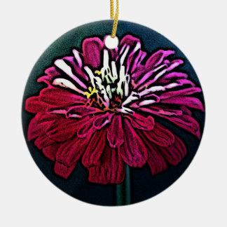 《植物》百日草の木版画 陶器製丸型オーナメント
