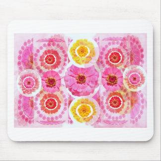 《植物》百日草の花のコラージュ-芸術的な変形 マウスパッド