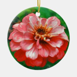《植物》百日草の花の絵画 陶器製丸型オーナメント