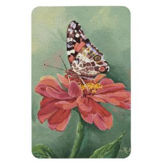 《植物》百日草の0461色彩の鮮やかな女性Butterfly マグネット