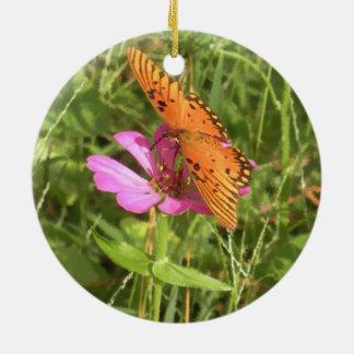 《植物》百日草及び蝶円形のオーナメント 陶器製丸型オーナメント