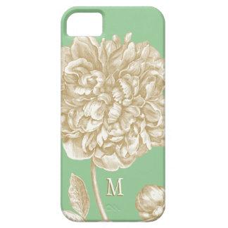 植物、真新しいシャクヤクのモノグラムのな花および金ゴールド iPhone SE/5/5s ケース