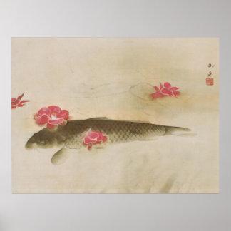 椿と鯉、速水御舟のツバキおよびコイ、Gyoshū ポスター