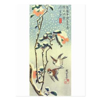 椿に雀、広重のツバキおよびすずめ、Hiroshige、Ukiyo-e ポストカード