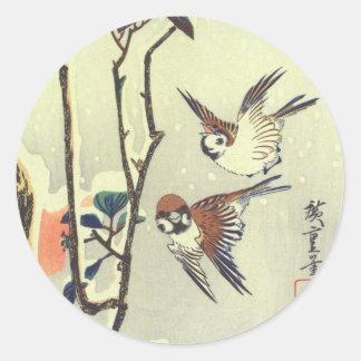 椿に雀、広重のツバキおよびすずめ、Hiroshige、Ukiyo-e ラウンドシール