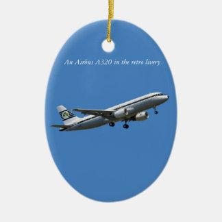 楕円形のオーナメントのための離陸のイメージのエアバスA320 セラミックオーナメント