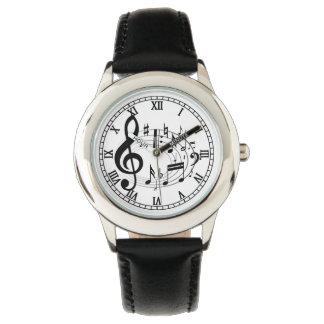 楕円形の形デザイナー腕時計の黒い音符 腕時計