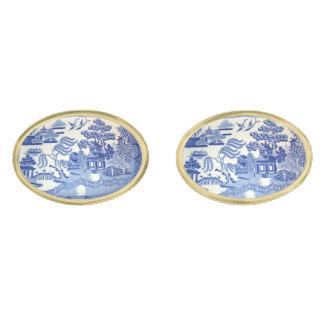 楕円形の金ゴールドのカフスボタンの青いヤナギの大皿 ゴールド カフスボタン