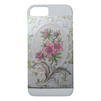 楕円形フレームw/flourishのカスタムな場合のピンクのツツジ iPhone 8/7ケース