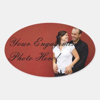 楕円形結婚式の婚約の写真のステッカー 楕円形シール