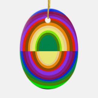 楕円形虹の上の側面半分 セラミックオーナメント