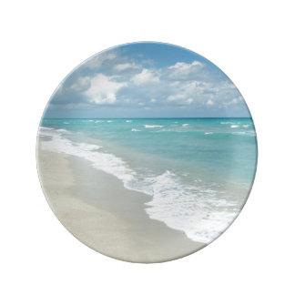 極度なくつろぎのビーチの眺め 磁器プレート