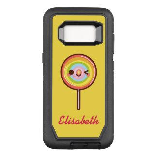 極度のかわいいかわいいの虹の棒つきキャンデーの名前のモノグラム オッターボックスディフェンダーSamsung GALAXY S8 ケース