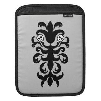 極度のかわいいゴシック様式スカルのダマスク織 iPadスリーブ