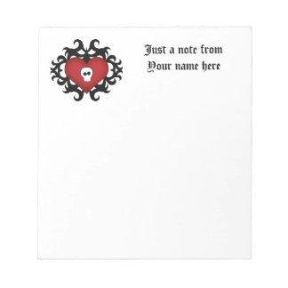 極度のかわいいゴシック様式ダマスク織のスカルのハートの黒および赤 ノートパッド