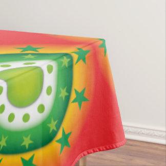 極度のクールな緑の円の星パターンテーブルクロス テーブルクロス