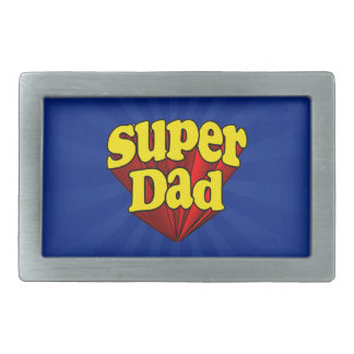 極度のパパの赤く黄色く青い父の日のスーパーヒーロー 長方形ベルトバックル