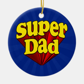 極度のパパ、スーパーヒーローの赤くか黄色か青い父の日 セラミックオーナメント