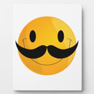 極度の幸せな髭のスマイリーフェイスEmoji フォトプラーク