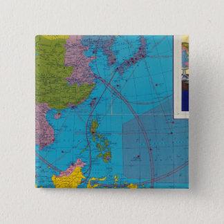 極東の地中海のな区域 5.1CM 正方形バッジ