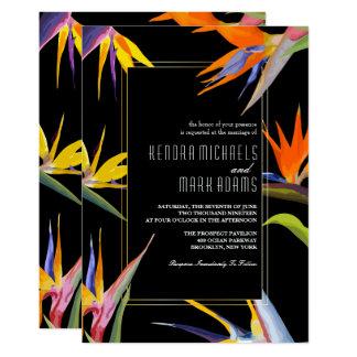 極楽鳥、花の結婚式招待状 カード