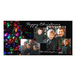 楽しいクリスマスの写真カード-黒い背景 カスタム写真カード