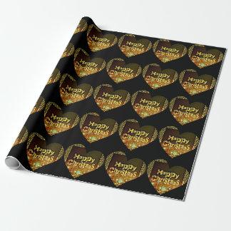 楽しいクリスマスの黒の金ゴールドのハート ラッピングペーパー