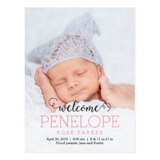 楽しくモダンな誕生の発表 ポストカード