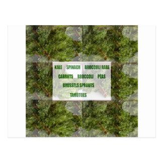 楽しむで葉が多い緑の野菜の健康な選択 ポストカード