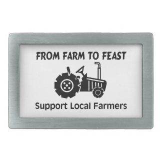 楽しむ農場からのサポート農家 長方形ベルトバックル