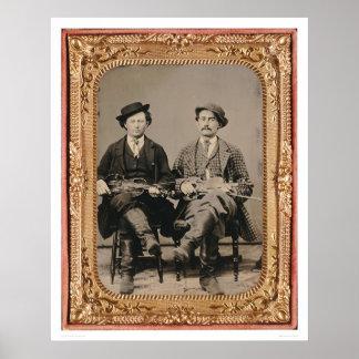 楽器(40050)によって着席する2人のバイオリン弾き ポスター