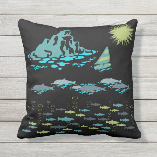 楽園のイルカの魚のウィンドサーファーの日曜日の緑のレトロ クッション