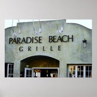 楽園のビーチのグリル ポスター