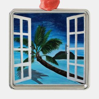 楽園のビーチへの窓 メタルオーナメント