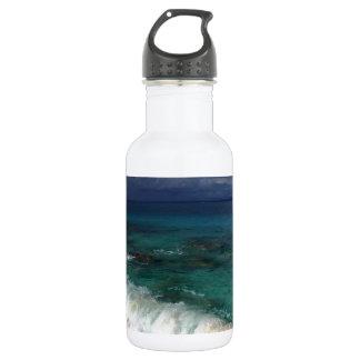 楽園の熱帯ビーチによって捨てられる海岸 ウォーターボトル