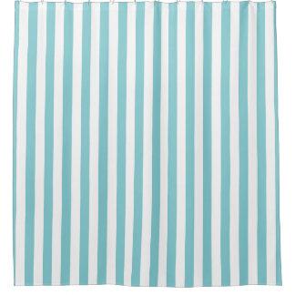 楽園の青および白くストライプのなシャワー・カーテン シャワーカーテン