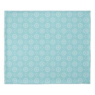 楽園の青及び白い花のモチーフのストライプの羽毛布団 掛け布団カバー