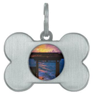 楽園湾の日没 ペットネームタグ