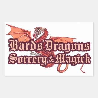 楽師、ドラゴン、魔術およびマジックのステッカー 長方形シール